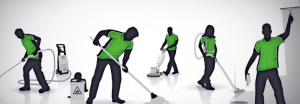 cleaners in green uniform